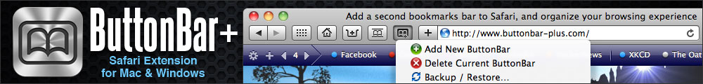 ButtonBar+ safari extension for Mac and Windows