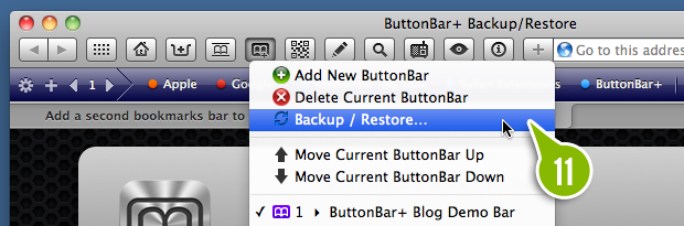 The ButtonBar+ backup and restore panel