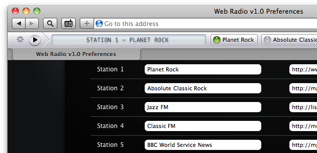 Preferences for the Web Radio extension