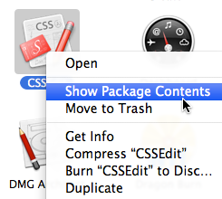 CSSEdit - show package contents