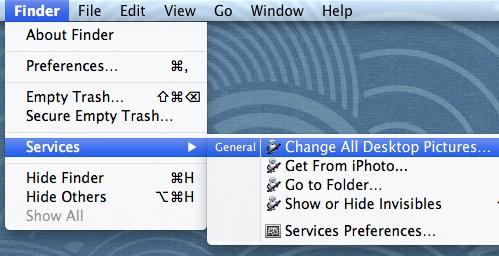 The Finder services menu