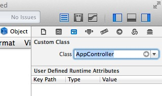 linking the object to the AppController in xCode