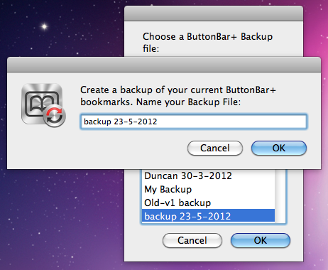 ButtonBar+ Backup/Restore