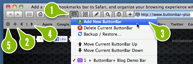 The ButtonBar+ menu and bookmarks bar