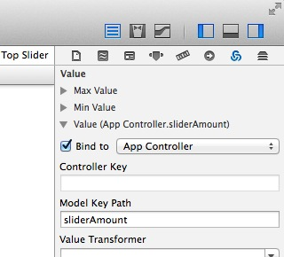 the Bindings Inspector in xCode