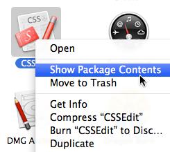 CSSEdit - show package contents