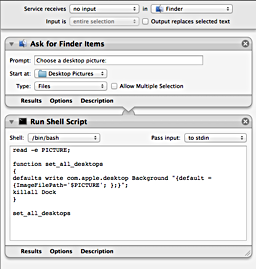 the finished Automator workflow