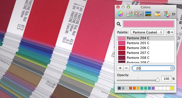 pantone colors in the Mac OSX color picker